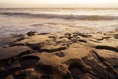 Sea surf on rocks in area  La Pared on Fuerteventura Stock Photos