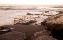 Sea surf on the rocks in area  La Pared on Fuerteventura Stock Photo