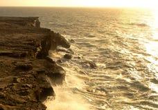 Sea surf on the rocks in area  La Pared on Fuerteventura Stock Image