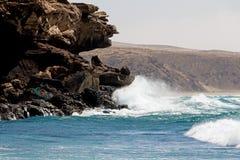 Sea surf on the rocks in area  La Pared on Fuerteventura Royalty Free Stock Photo