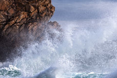 Sea surf at the rocky coast of Brittany Stock Photo