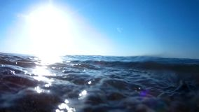 Running sea waves roll on the camera stock video footage