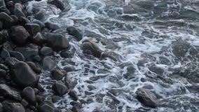 Sea surf on  stone coast stock footage