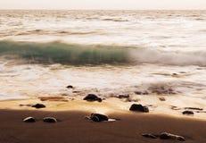 Sea surf  at sunset in area  La Pared on Fuerteventura Stock Image