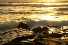 Sea surf  at sunset in area  La Pared on Fuerteventura Stock Photo