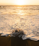 Sea surf  at sunset in the   La Pared on Fuerteventura Royalty Free Stock Photo