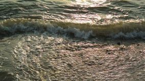 Sea surf with sunset light at beach stock video footage
