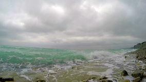Sea surf with turquoise waves stock video