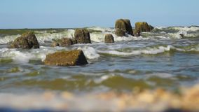 Sea surf view from frog perspectives stock video footage