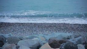 Sea surf. Waves runs on coastal pebble. Sea surf, Waves runs on coastal pebble stock footage