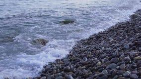 Sea surf. Waves runs on coastal pebble. Sea surf. Waves runs on coastal pebble 4k stock footage