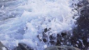 Sea surf. Waves runs on coastal pebble. Sea surf. Waves runs on coastal pebble 4k stock video footage