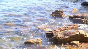 Sea surf. Waves runs on coastal rocks. The Original video without any processing. Footage 1920x1080. HD Format : Sea surf. Waves runs on coastal rocks. The stock video footage