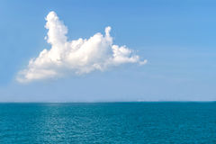 Sea Surface Calm Of Horizon Sea Ocean And Blue Sky Background Stock Image