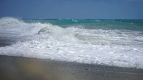 Sea surface shot with static cam, beautiful waves, seamless loop, high definition. stock footage