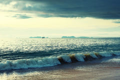 Sea Surface at Sunset Stock Photography
