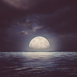 Sea surface under night stormy skies Stock Photography