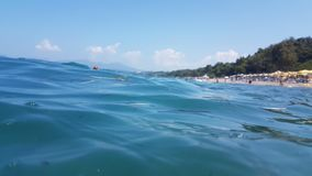 Sea surface waves diving blue sea Stock Image