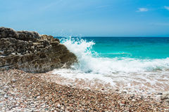 Sea swash. Waves breaking on the rocks. Royalty Free Stock Images