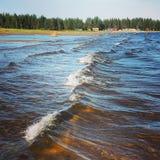 Sea in Sweden. Waves in the  sea  near Skellefte Stock Photo