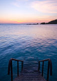 Sea swimming pool. Natural sea swimming pool with staircase and sunset Royalty Free Stock Images
