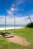 The sea swing corner on the beach. The sea swing corner is the chilling out view on the beach stock photography