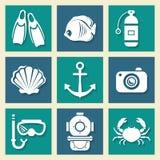 Sea symbols icons et Stock Images