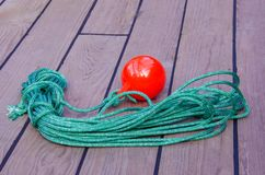 Tackle to facilitate the supply of the mooring cable to the shor royalty free stock images
