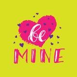 Sea tarjetas de la mina para el día de tarjetas del día de San Valentín Letras dibujadas mano del cepillo con los corazones Texto Foto de archivo libre de regalías