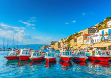 Sea Taxi boats. Traditional taxi boats in the port of Hydra island in Greece Stock Image