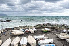 Sea in tempest on rocks of italian village Royalty Free Stock Photos