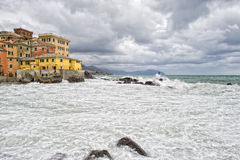 Sea in tempest on rocks of italian village Royalty Free Stock Images