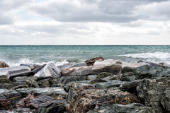 Sea in tempest on rocks shore Royalty Free Stock Photos