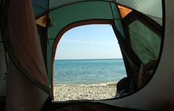 Sea and tent stock photography