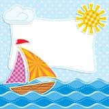 Sea textiles. Vector image of Sailing ship at sea textiles. Patchwork Royalty Free Stock Photography