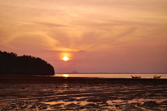 Sea thailand in sunset. Sun rise over the tropical sea Royalty Free Stock Photo