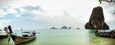 The sea of thailand whit a traditional boat Royalty Free Stock Photography
