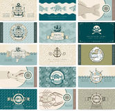 Sea theme. Set of business cards on a sea theme and seafood Stock Images