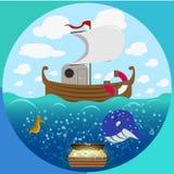 Sea theme circle set Royalty Free Stock Photography