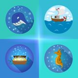 Sea theme flat icons. Vector flat set based on the sea theme Royalty Free Stock Image