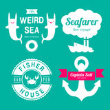 Sea theme labels Royalty Free Stock Image