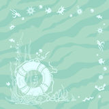 Sea theme. Postcard/background with elements of seafaring and sea life Stock Image