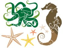 Sea Theme: Seahorse Octopus Starfish COLOR. Starfish, octopus and seahorse in greens, browns, tans and golds. Vector illustration with swirls, eye holes, and vector illustration