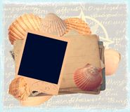 Sea theme template. With polaroid and shells stock illustration