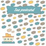 Sea theme travel, tourism card, brochure, invitation Stock Photography