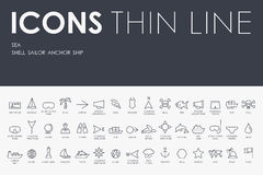 Sea Thin Line Icons royalty free illustration