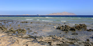 Sea and Tiran island in Sharm El Sheikh Royalty Free Stock Photo