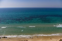 The sea to the horizon, waves, beach. Background royalty free stock images