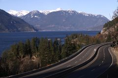 Sea to Sky Highway, Howe Sound Royalty Free Stock Photos