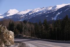 Sea to Sky highway with Whistler Mountain Royalty Free Stock Images